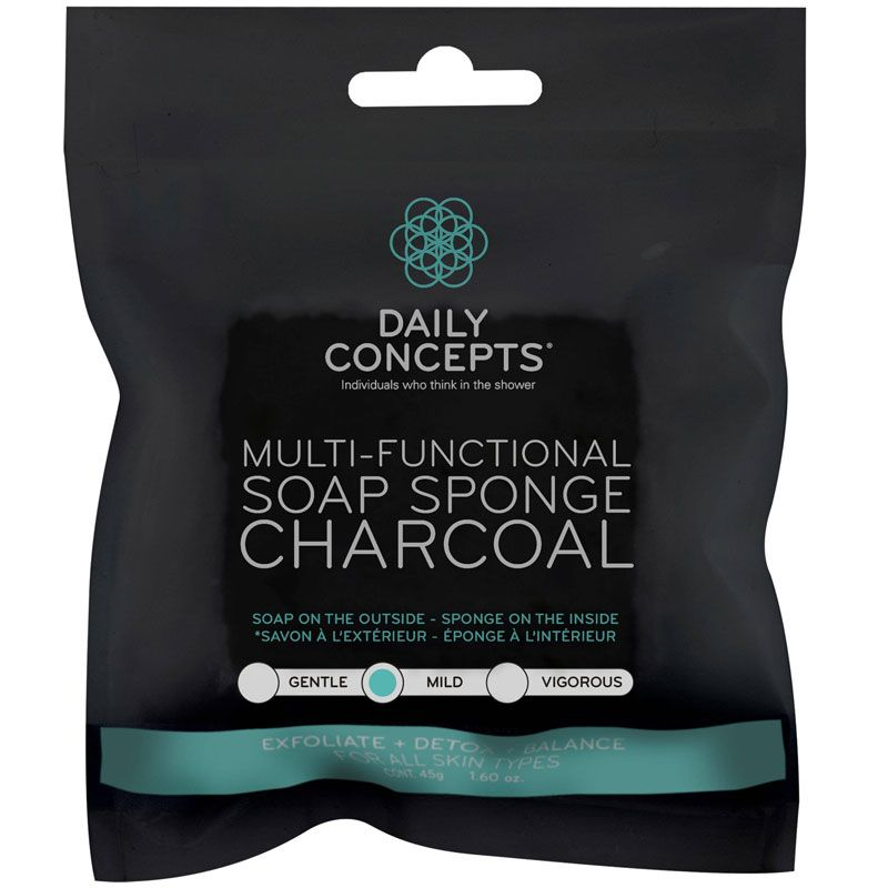 Daily Concepts Multi-Functional Soap Sponge - Charcoal in packaging