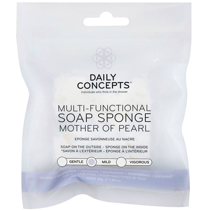 Daily Concepts Multi-Functional Soap Sponge - Mother of Pearl packaging