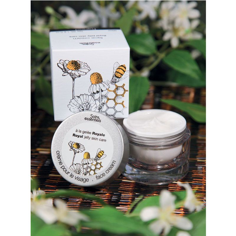 Fragonard Parfumeur Face Cream with Royal Jelly beauty shot with jasmine in back and fore-ground