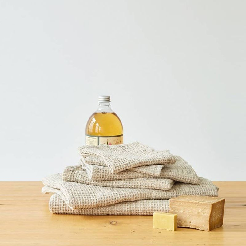 Linen Tales Waffle Body Towel - Beige in various sizes with soaps