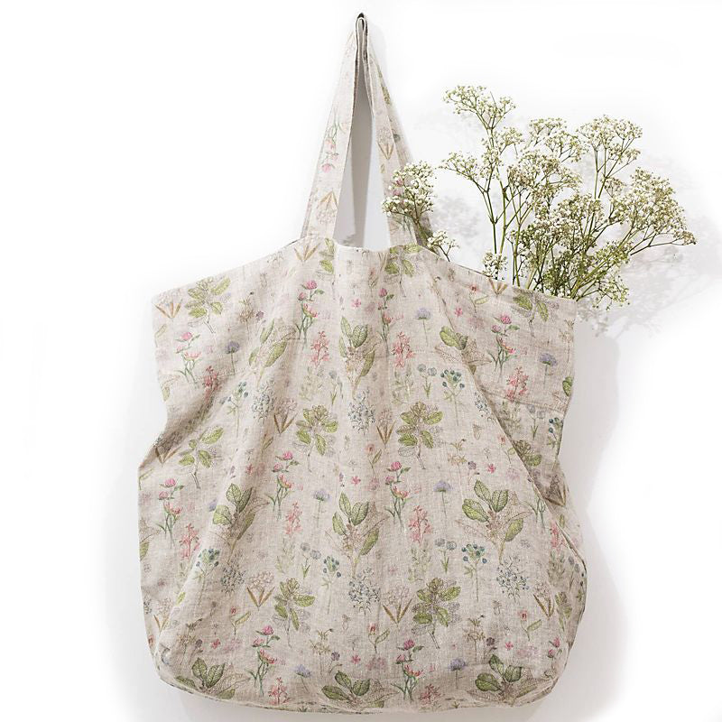 Linen Tales Linen Bag with Print - Botany shown hanging with flowers