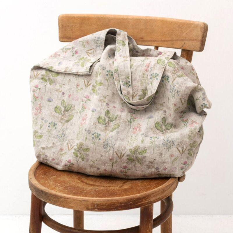 Linen Tales Linen Bag with Print - Botany shown on a chair