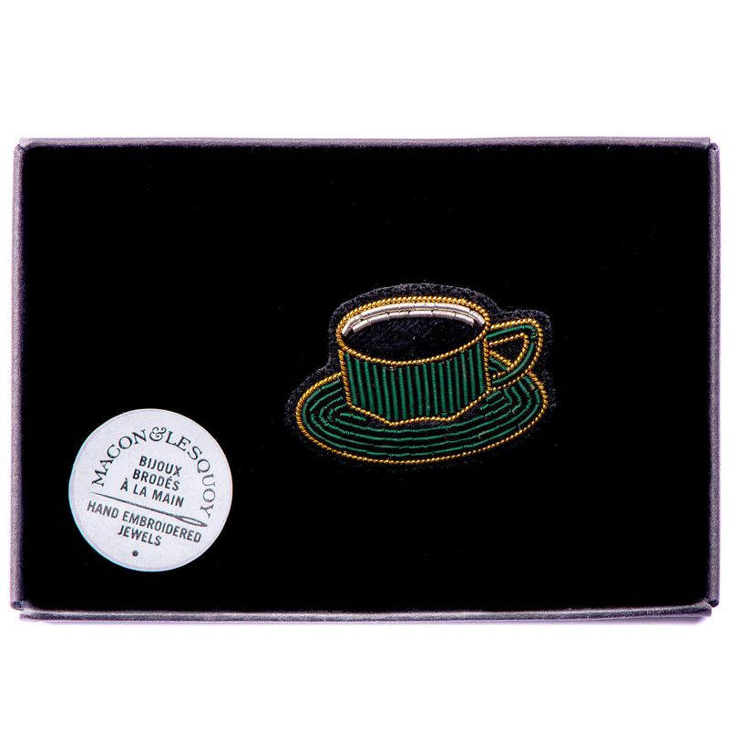 Macon & Lesquoy Hand Embroidered Cup of Coffee Pin in box