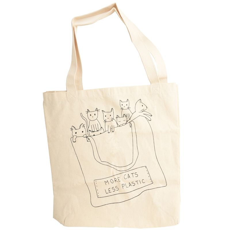 Mimi & August More Cats Less Plastic Printed Cotton Tote Bag