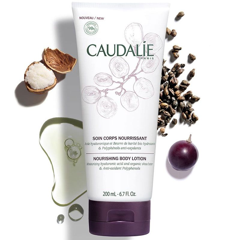 Caudalie Hyaluronic Acid Nourishing Body Lotion (200 ml) with key ingredients around tube