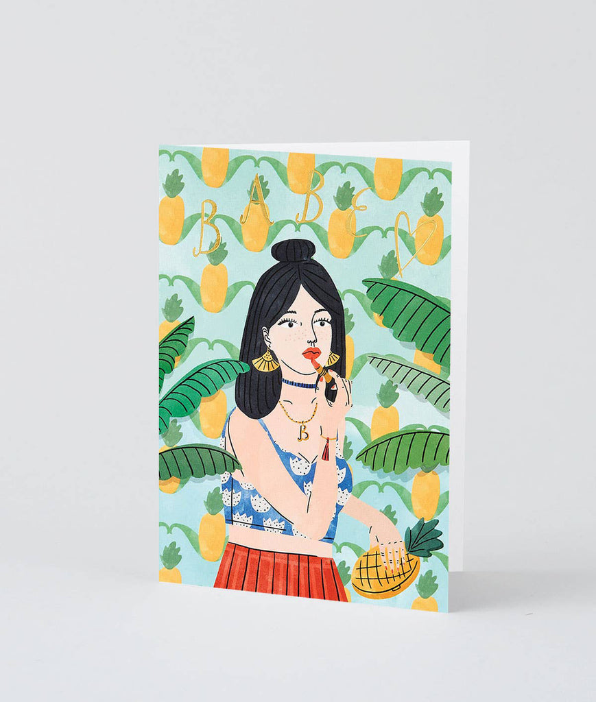 Wrap 'Babe' Greetings Card (1 pc) standing up slightly open