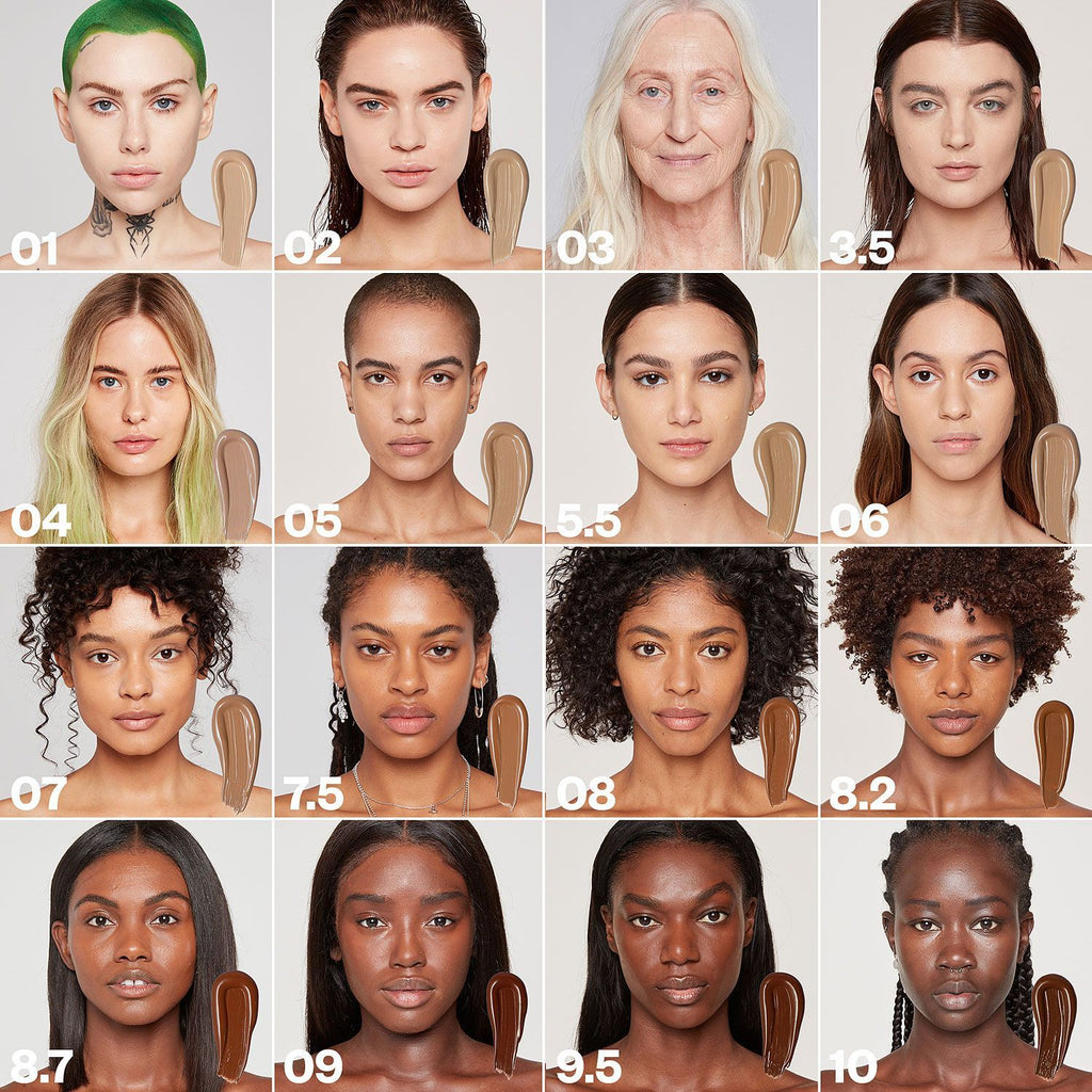 Kosas Cosmetics Revealer Concealer Super Creamy + Brightening Color Chart with colors on model faces