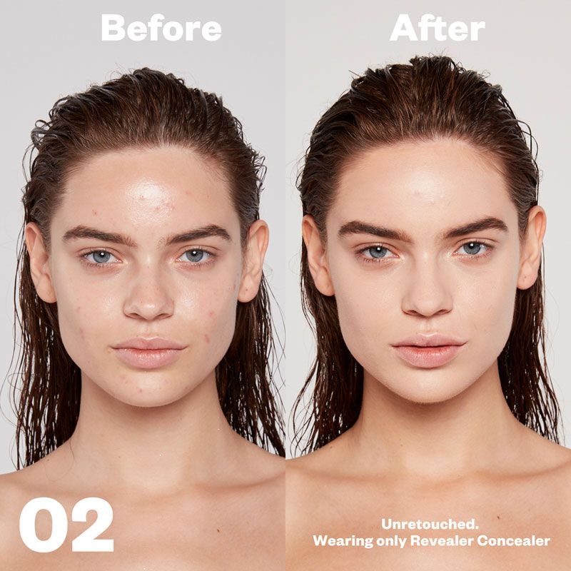 Kosas Cosmetics Revealer Concealer Super Creamy + Brightening (Tone 02) before/after on face
