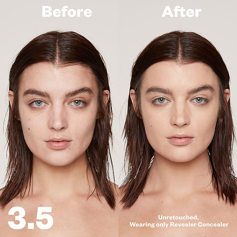 Kosas Cosmetics Revealer Concealer Super Creamy + Brightening (Tone 3.5) before/after on face