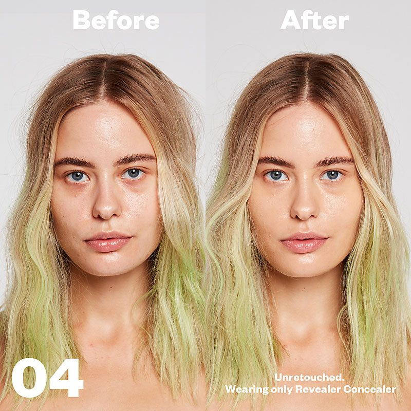 Kosas Cosmetics Revealer Concealer Super Creamy + Brightening (Tone 04) before/after on face