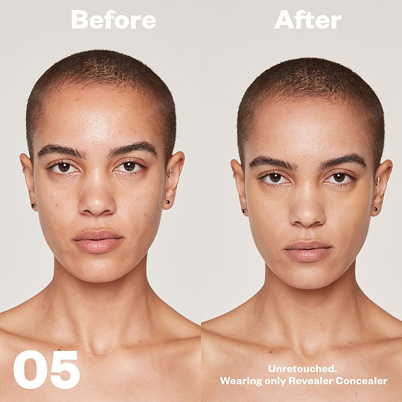 Kosas Cosmetics Revealer Concealer Super Creamy + Brightening (Tone 05) before/after on face