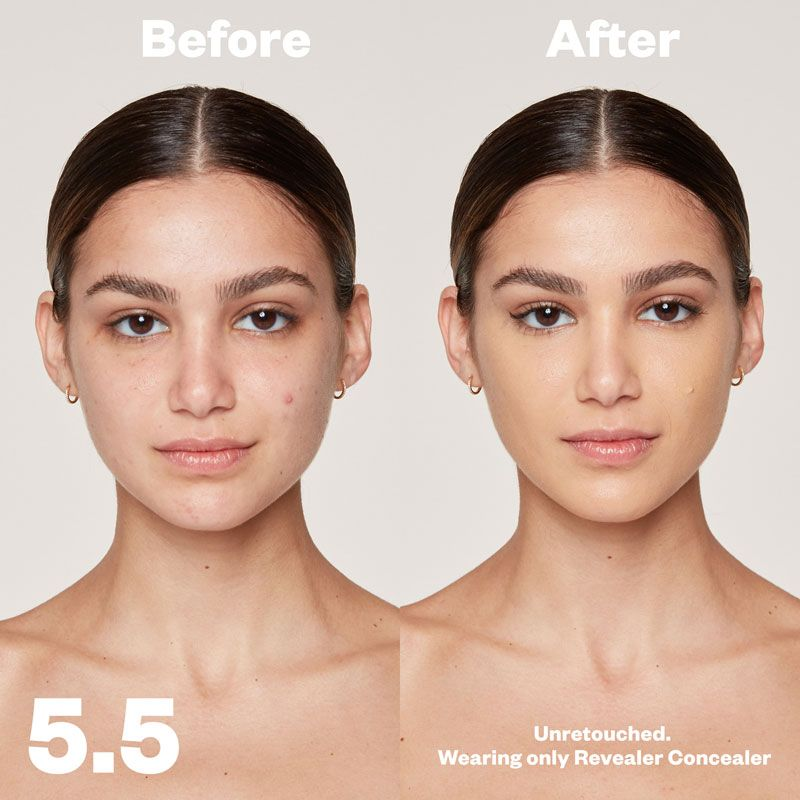 Kosas Cosmetics Revealer Concealer Super Creamy + Brightening (Tone 5.5) before/after on face