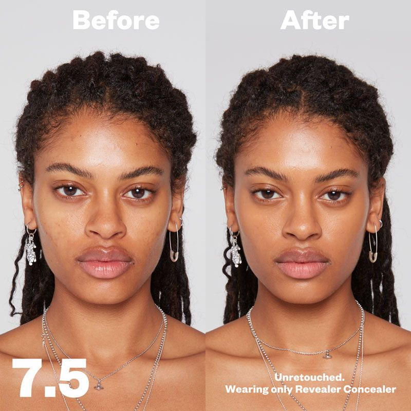 Kosas Cosmetics Revealer Concealer Super Creamy + Brightening (Tone 7.5) before/after on face