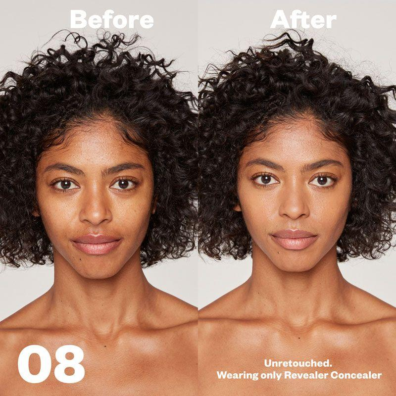 Kosas Cosmetics Revealer Concealer Super Creamy + Brightening (Tone 08) before/after on face