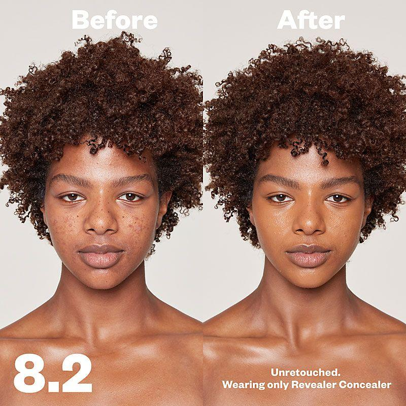 Kosas Cosmetics Revealer Concealer Super Creamy + Brightening (Tone 8.2) before/after on face
