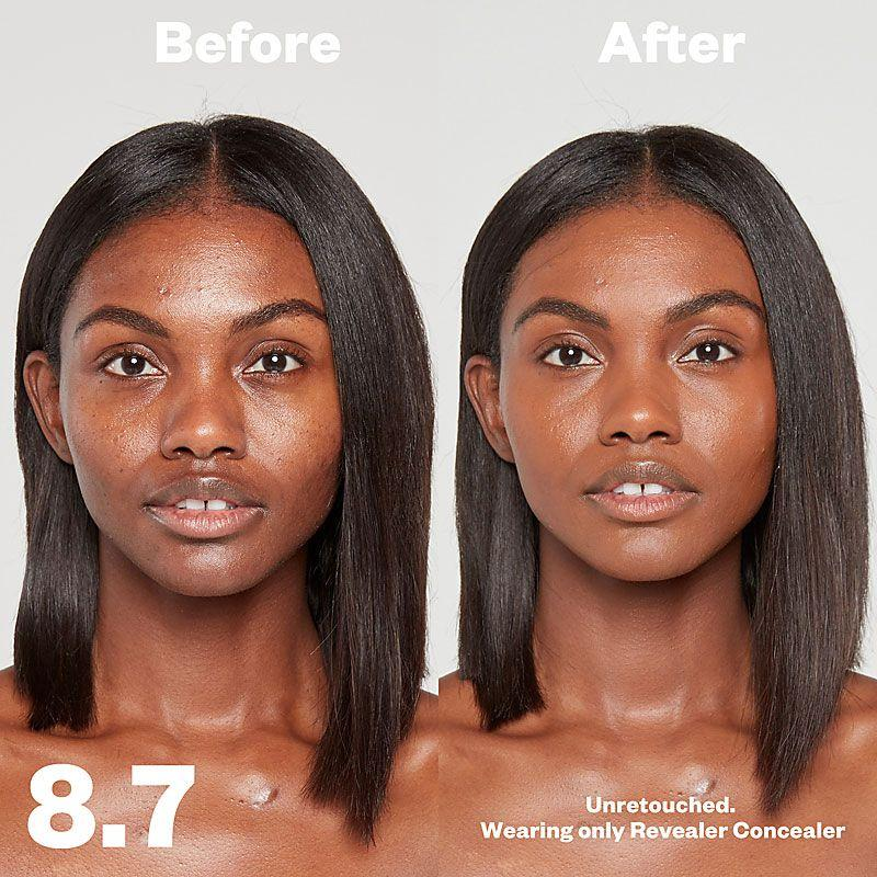 Kosas Cosmetics Revealer Concealer Super Creamy + Brightening (Tone 8.7) before/after on face