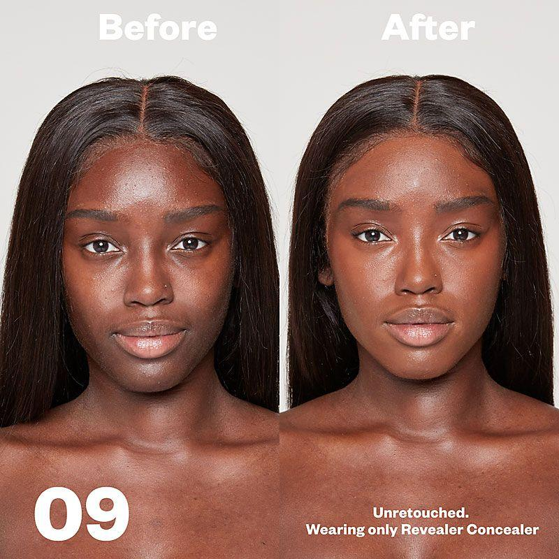 Kosas Cosmetics Revealer Concealer Super Creamy + Brightening (Tone 09) before/after on face