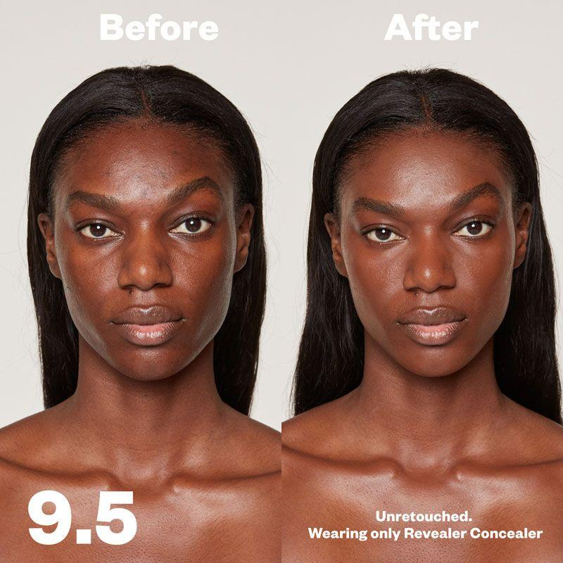 Kosas Cosmetics Revealer Concealer Super Creamy + Brightening (Tone 9.5) before/after on face
