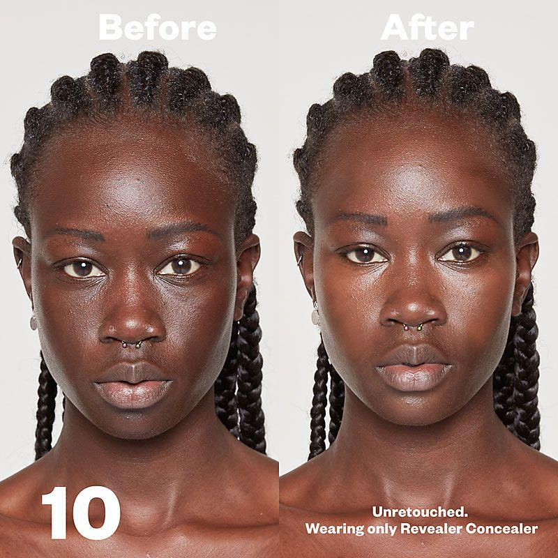 Kosas Cosmetics Revealer Concealer Super Creamy + Brightening (Tone 10) before/after on face
