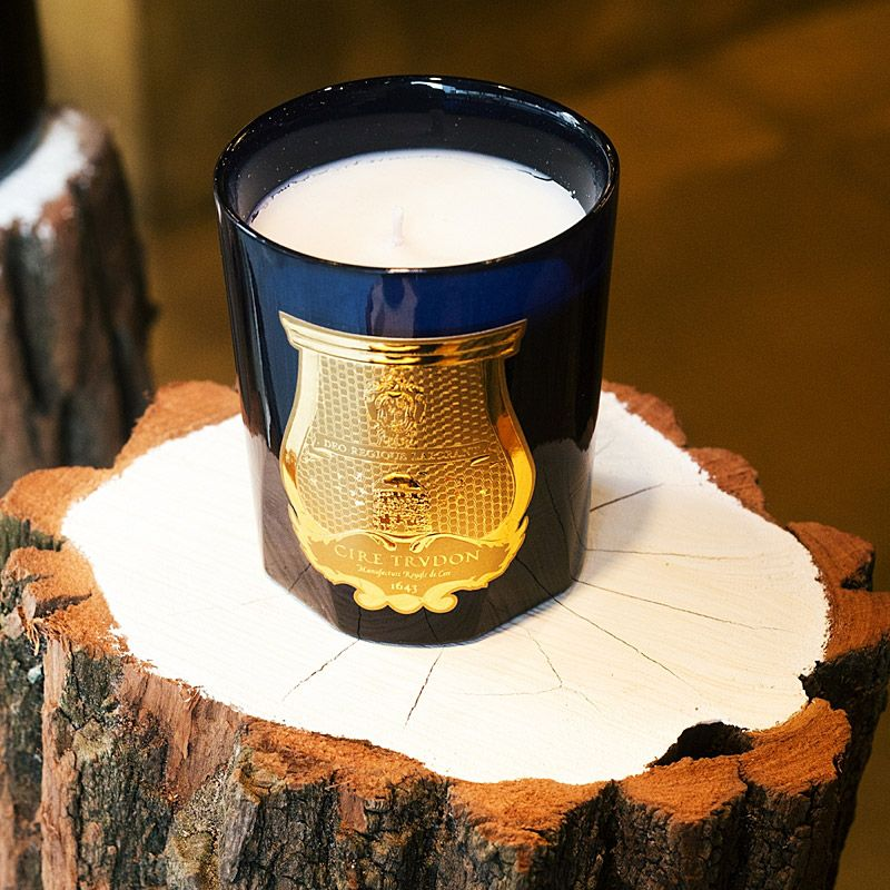 Cire Trudon Ourika Candle lifestyle shot on tree stump
