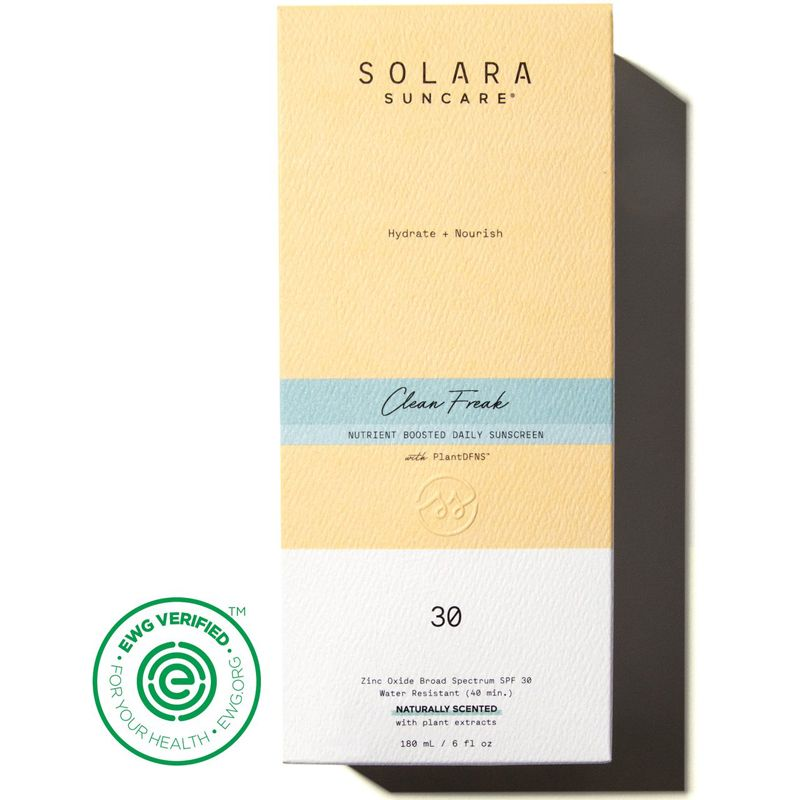 Solara Suncare Clean Freak Nutrient Boosted Daily Sunscreen with box