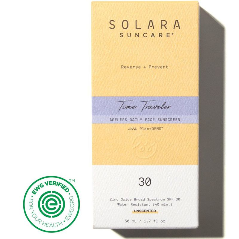 Solara Suncare Time Traveler Ageless Daily Face Sunscreen (Unscented) box