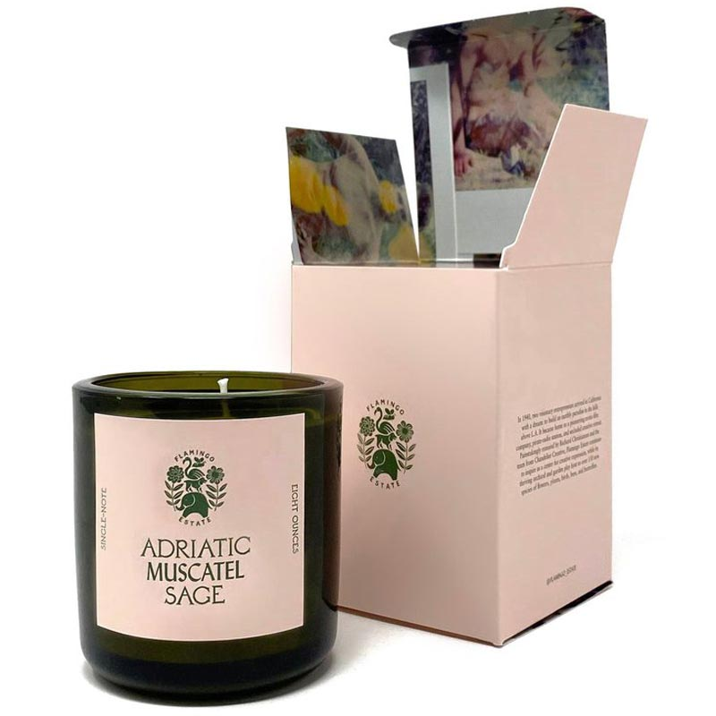 Flamingo Estate Organics Adriatic Muscatel Sage Candle with box