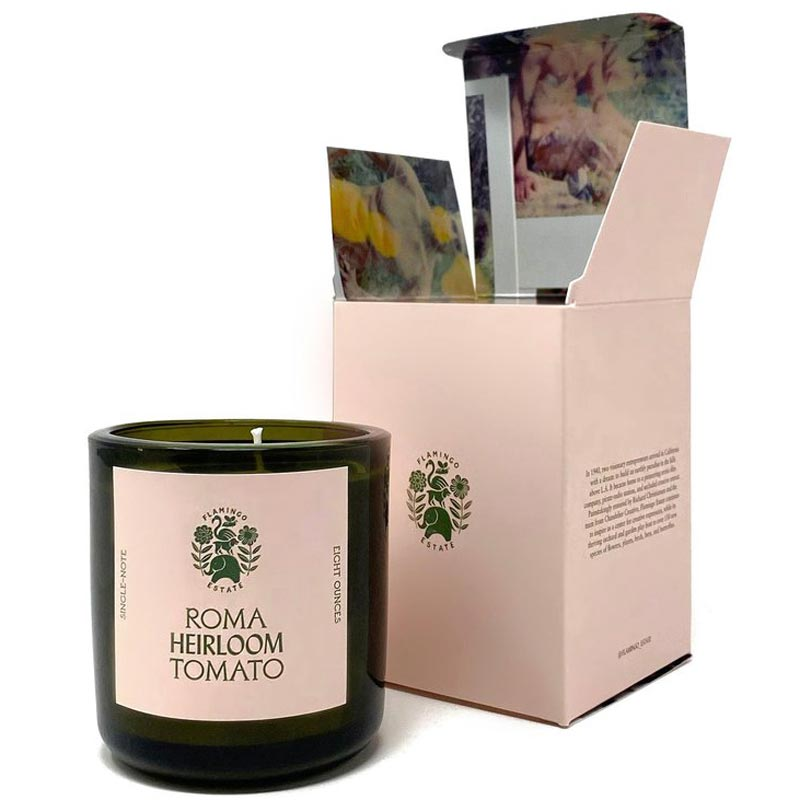 Flamingo Estate Organics Roma Heirloom Tomato Candle with box