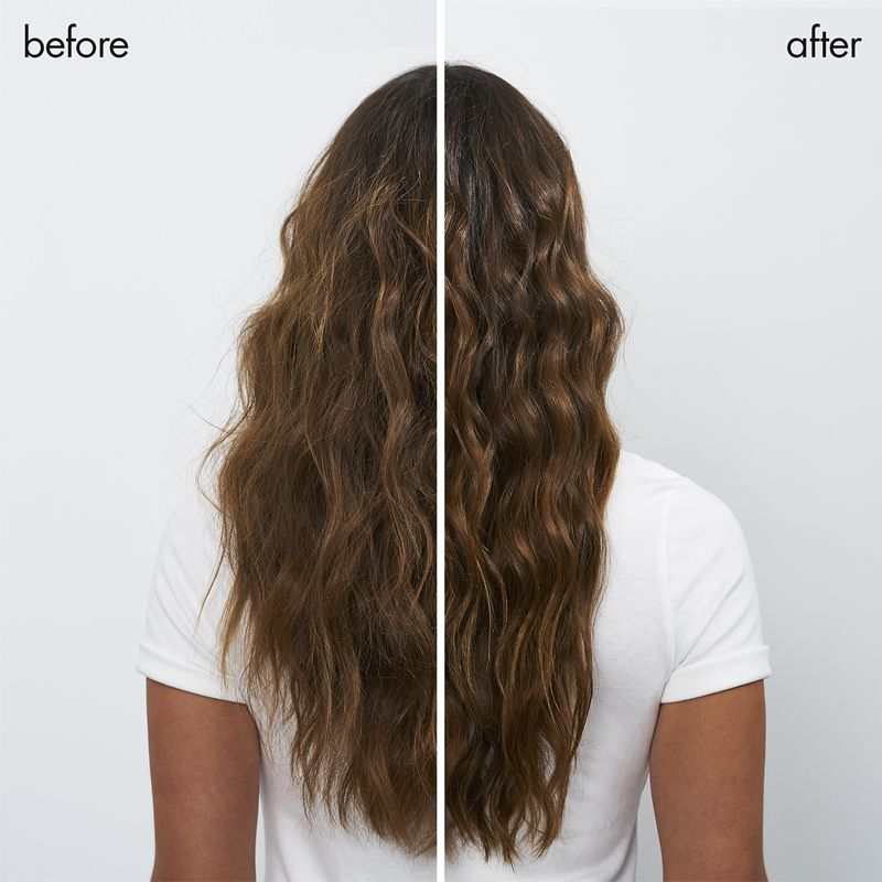 showing model with hair before and after product collection use