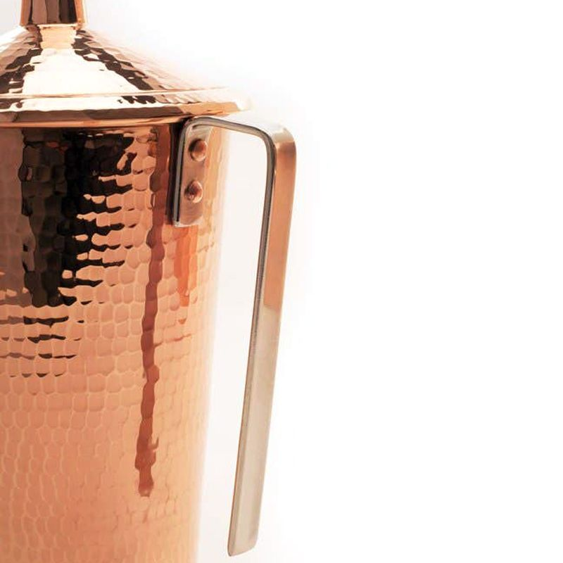Sertodo Copper Gangotri Copper Pitcher with Lid - handle close-up