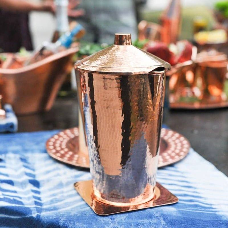 Sertodo Copper Gangotri Copper Pitcher with Lid - lifestyle shot