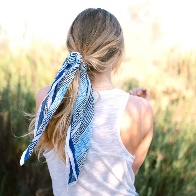 From Mila Aegean Bandana tied on ponytail of model