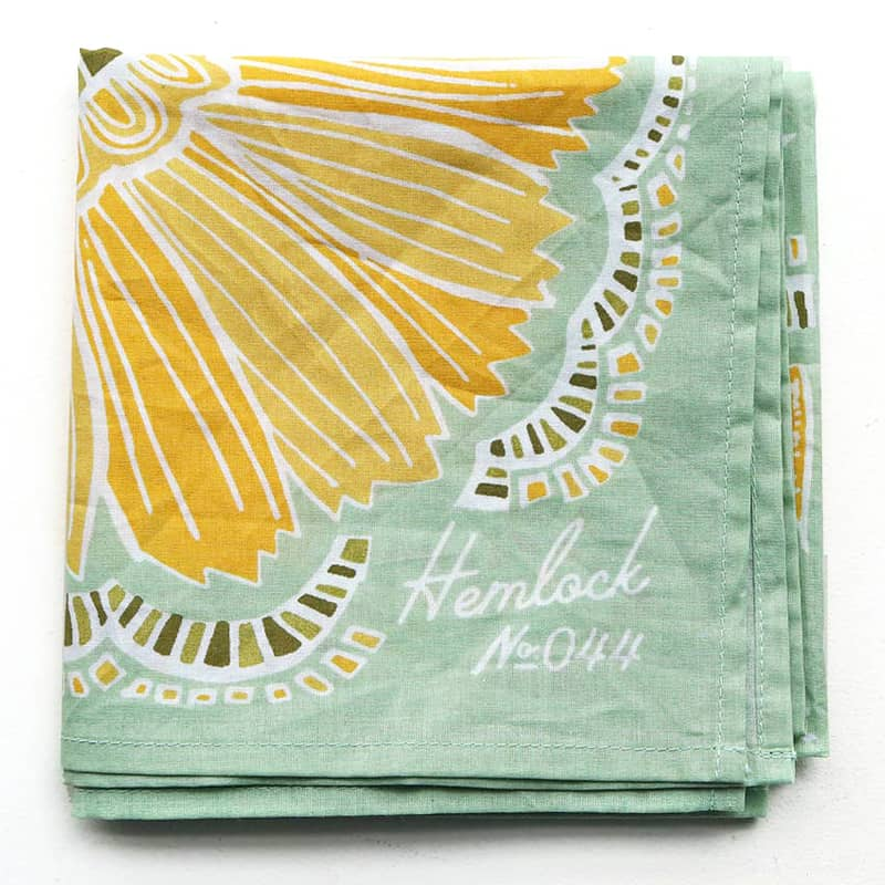 Hemlock Hazel Premium Cotton Handmade Bandana - another corner close-up