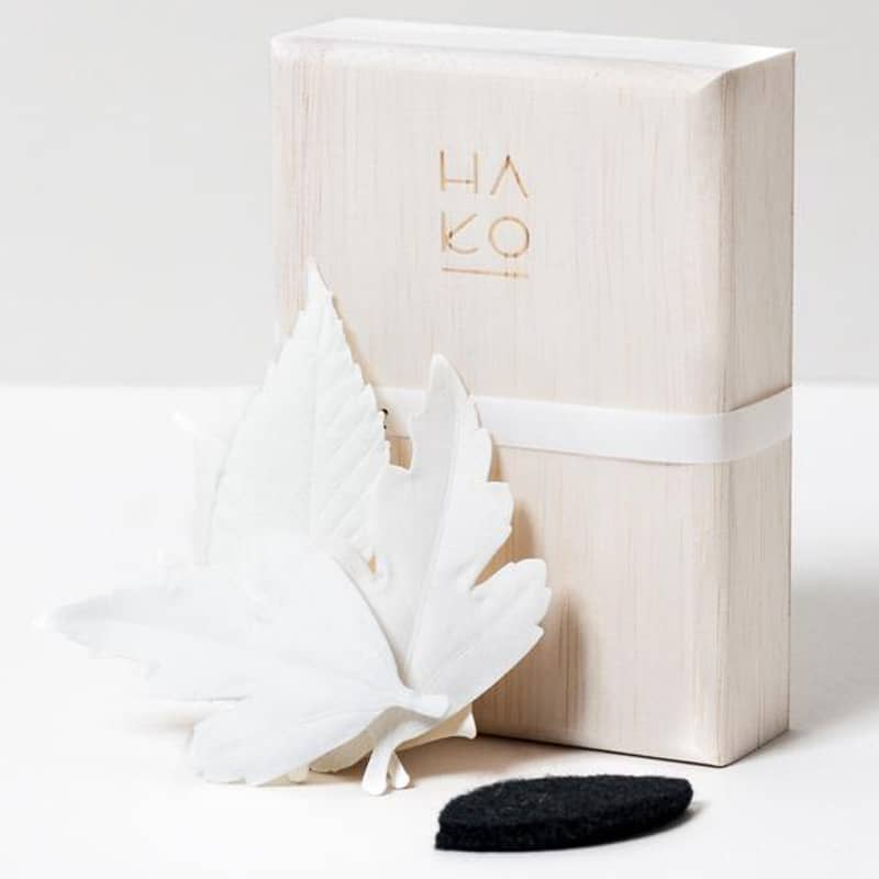 Morihata HA KO Paper Incense Wooden Box Set of 5 with Mat - box with leaves and pad beside