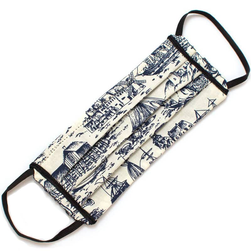 General Knot & Co. Reusable Nautical Toile Face Mask - folded front