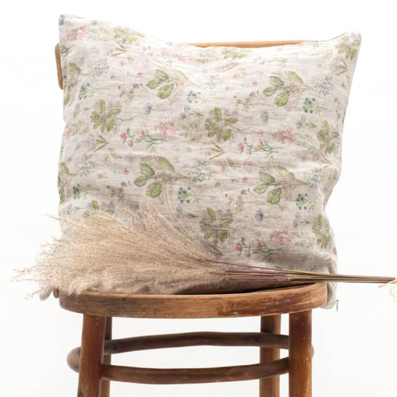Linen Tales Botany Print Cushion Cover (1 pc) pictured on a chair (not included)
