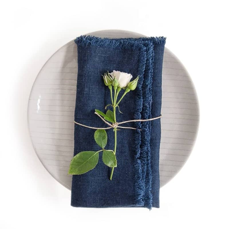 Linen Tales Napkin with Fringes – Navy (2 pcs)