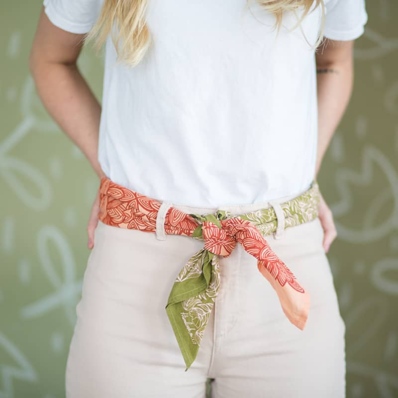 Hemlock Ocala Premium Cotton Handmade Bandana tied with another bandana and used as a belt