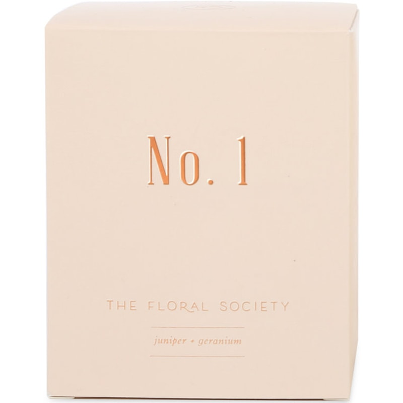 The Floral Society Juniper & Geranium Candle box