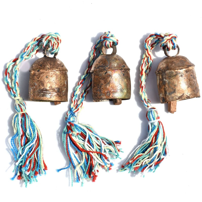 Mira Fair Trade Solo Bell Mini With Tassel - shown as a group of 3