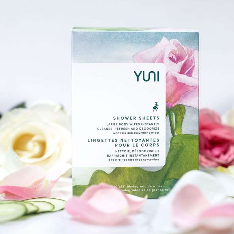 Yuni Beauty Rose Cucumber Shower Sheets box with roses