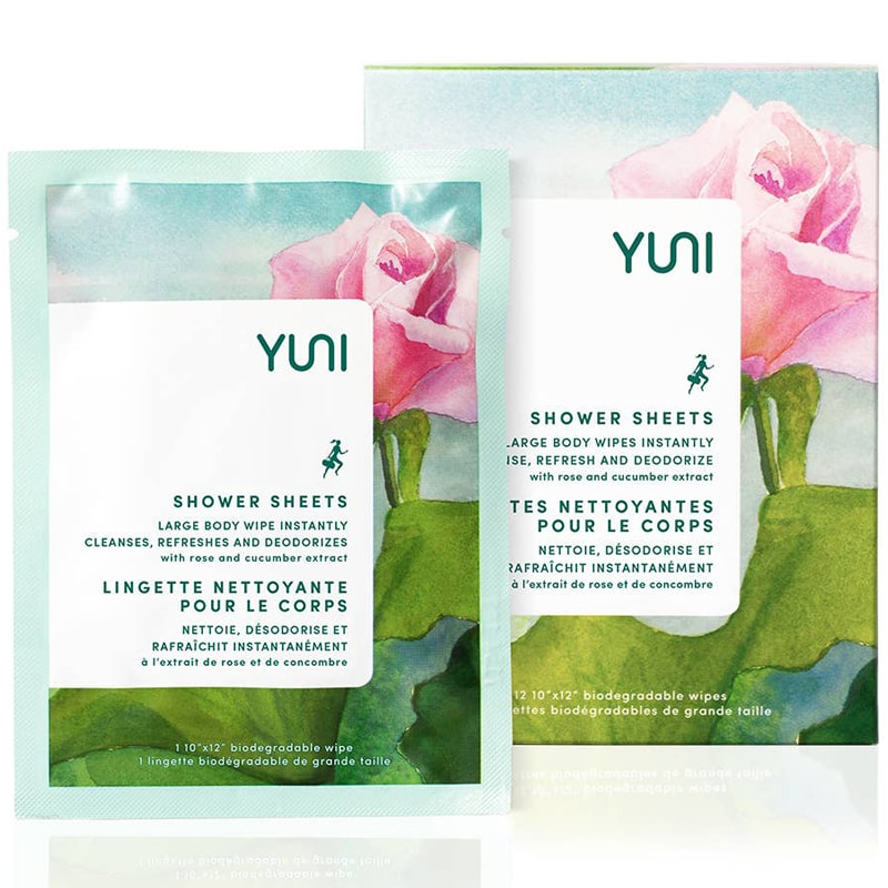 Yuni Beauty Rose Cucumber Shower Sheets (12 Sheets) single packet pictured with box