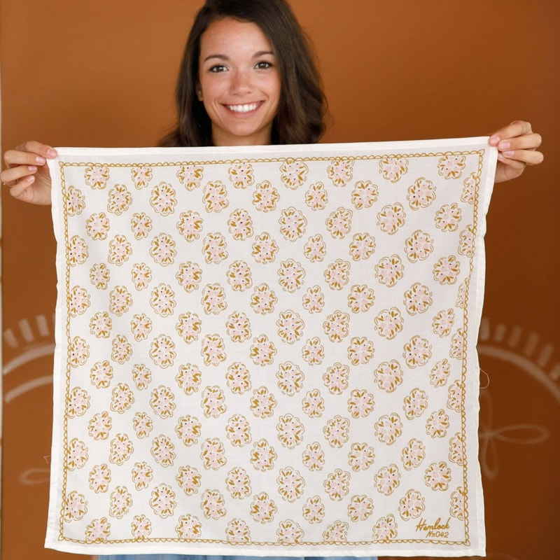 Hemlock Pearl Premium Cotton Handmade Bandana held stretched out by model