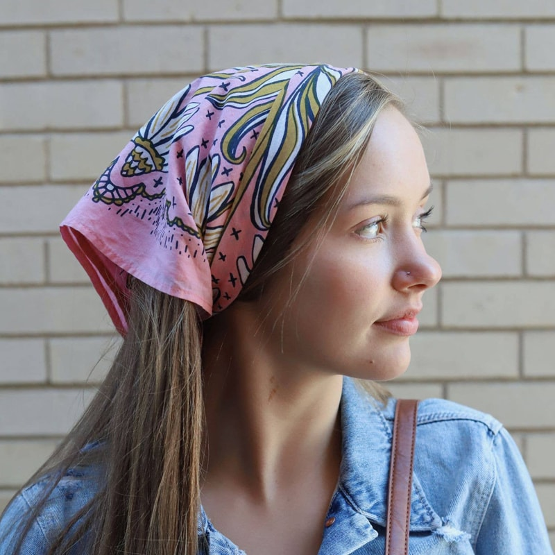 Hemlock Maude Premium Cotton Handmade Bandana on model's head