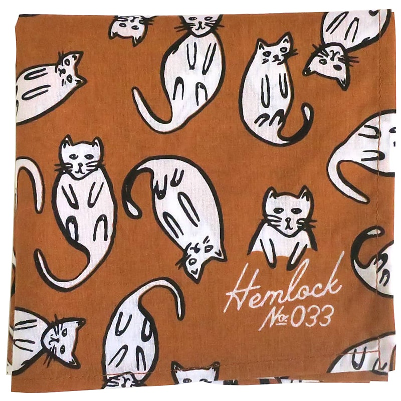 Hemlock Kitties Premium Cotton Handmade Bandana square fold
