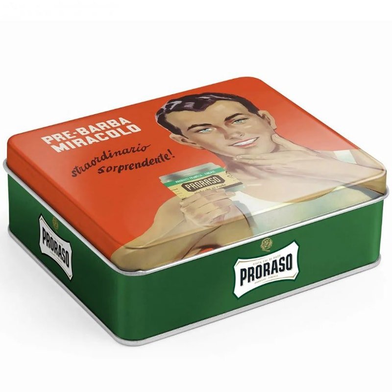 Proraso Vintage Selection Gino Shave Kit side view of tin