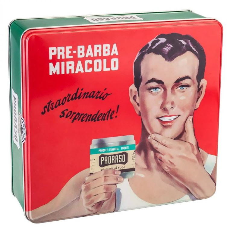 Proraso Vintage Selection Gino Shave Kit front of tin