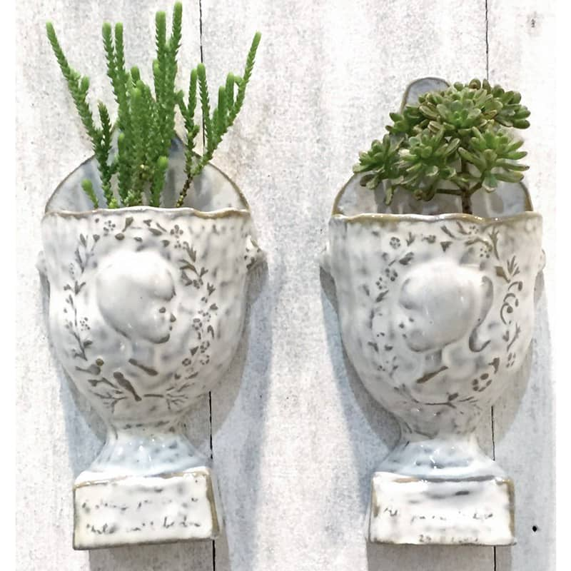 Yarnnakaran Ceramics Anniversary Wall Hanging Vase Set shown planted with succulents (not included)