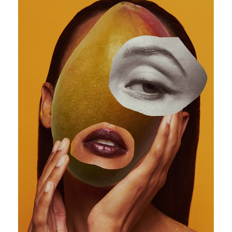 Vilhelm Parfumerie Mango Skin Eau de Parfum Mood Shot - surreal woman with mango face