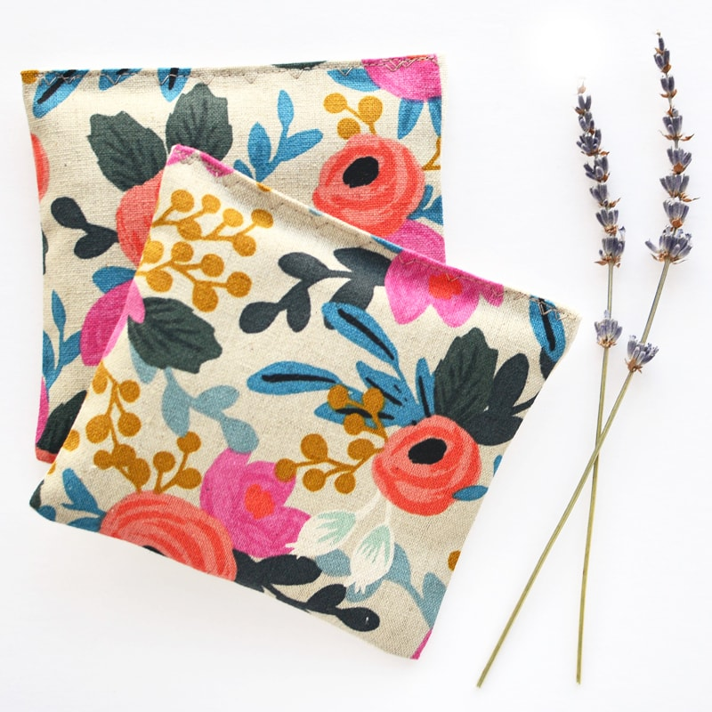 Minor Thread Organic Lavender Sachets in Rosa Floral Canvas pictured with Lavender stalks